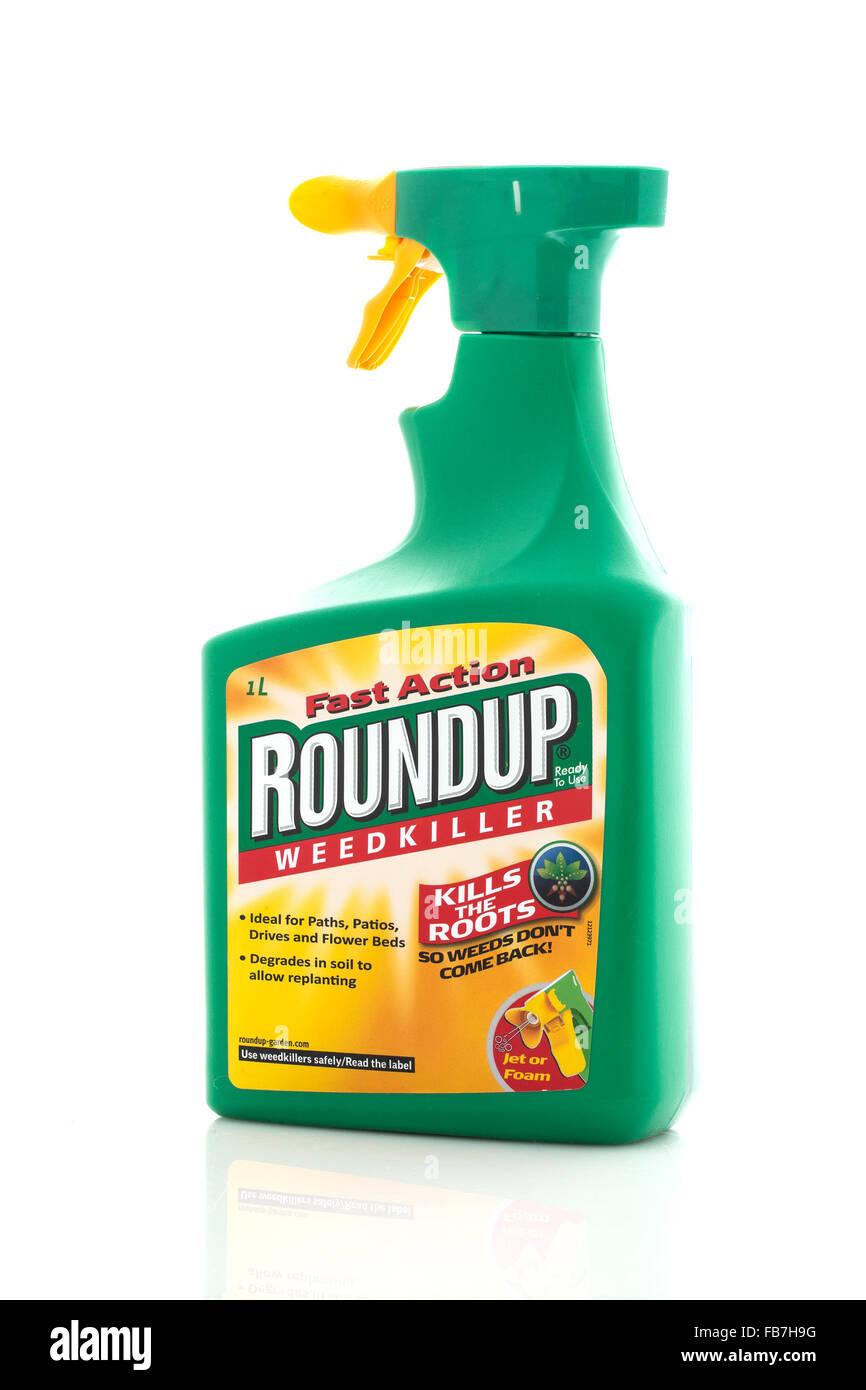 Roundup Weedkiller Spray Bottle On A White Background