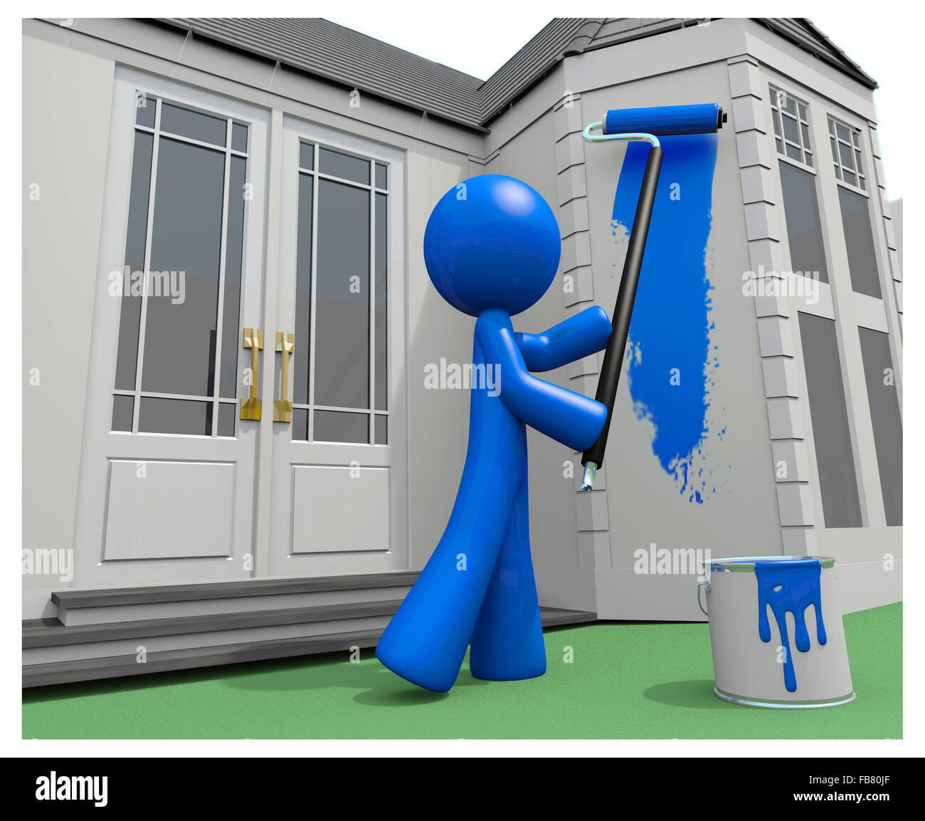 Wonderful Blue Man Painting His House, 3d