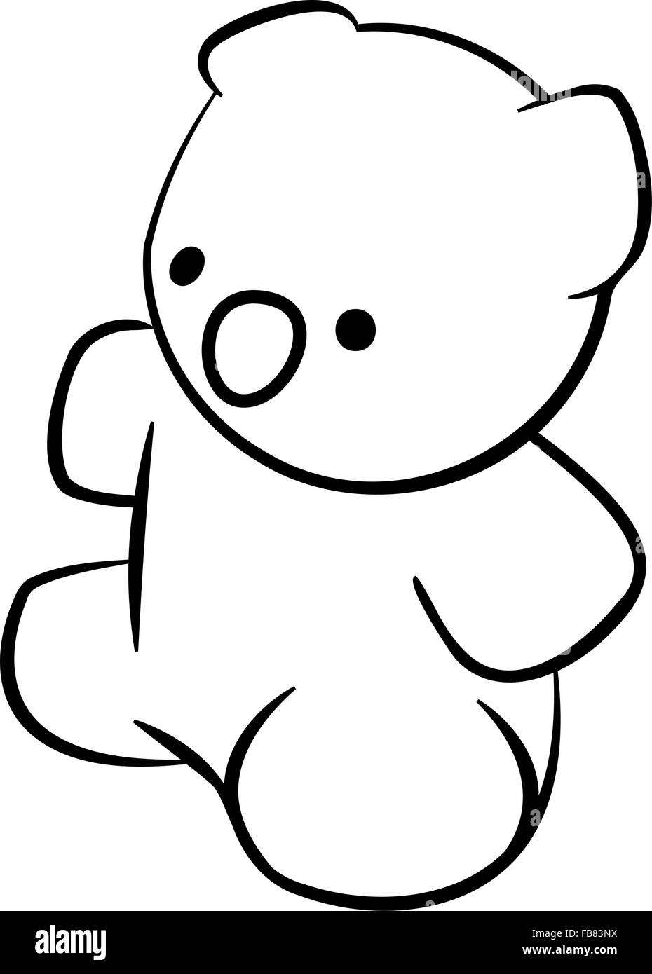line drawing of teddy bear