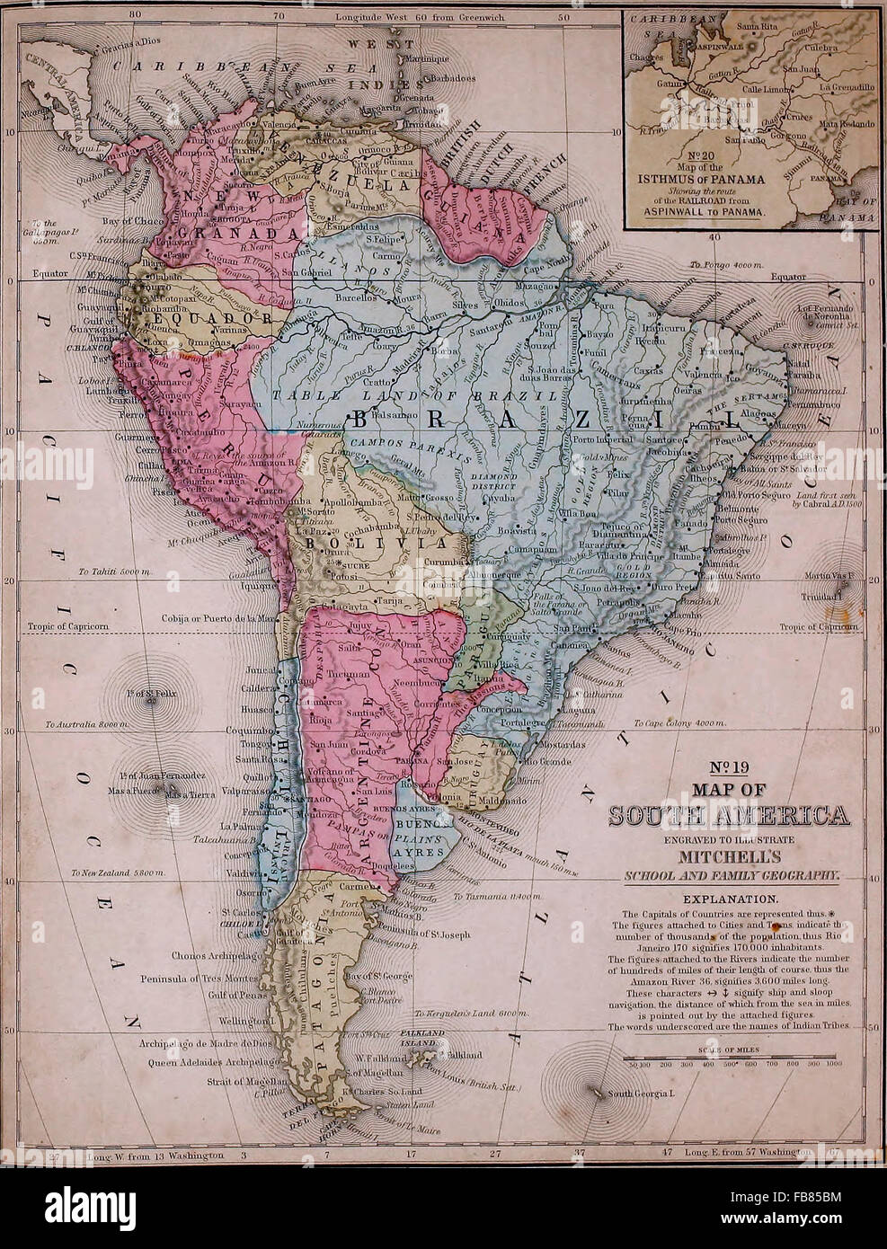 Map of South America circa 1861 Stock Photo Royalty Free Image