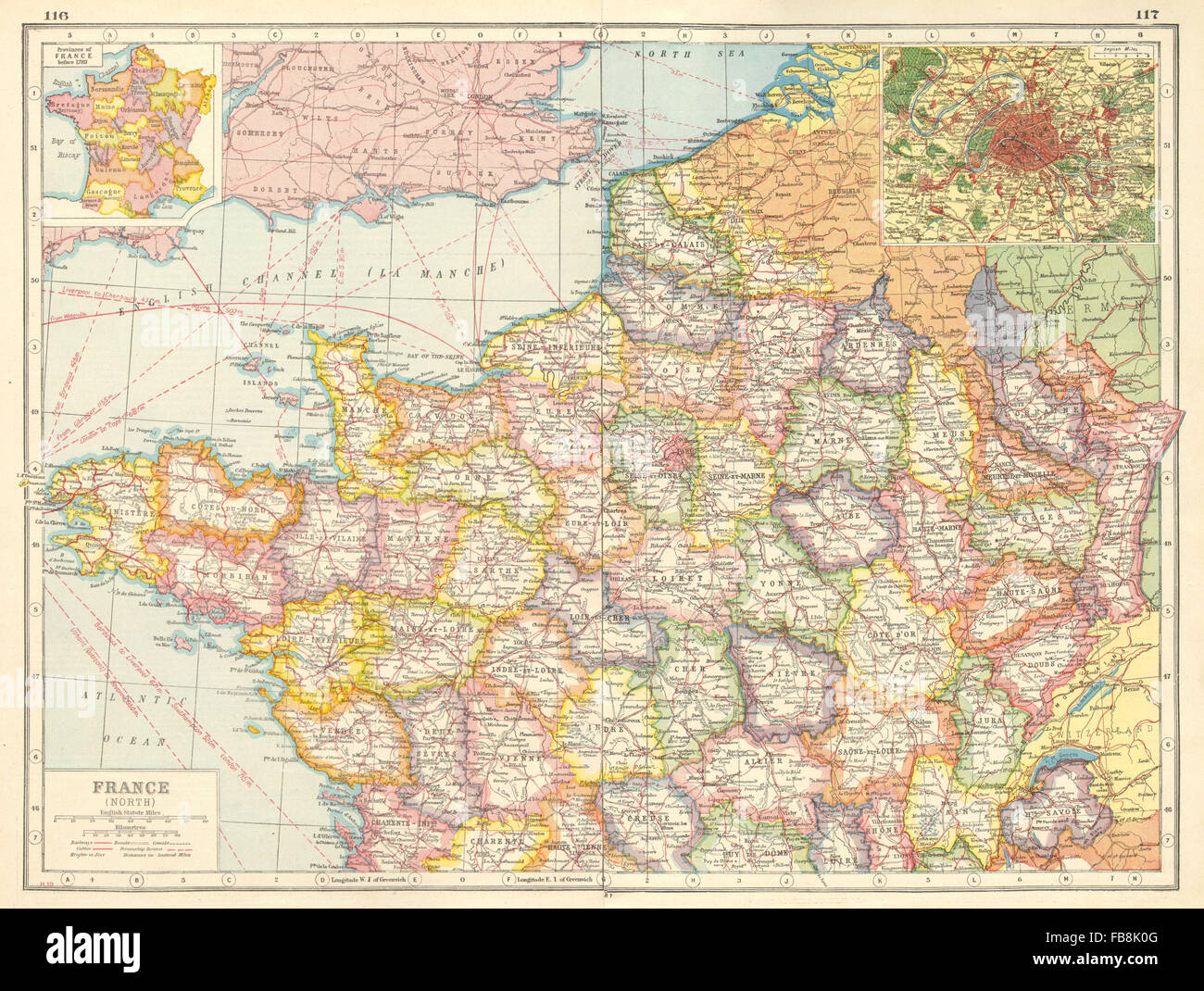 NORTHERN FRANCE Departements Inset Provinces Pre Paris - France provinces map