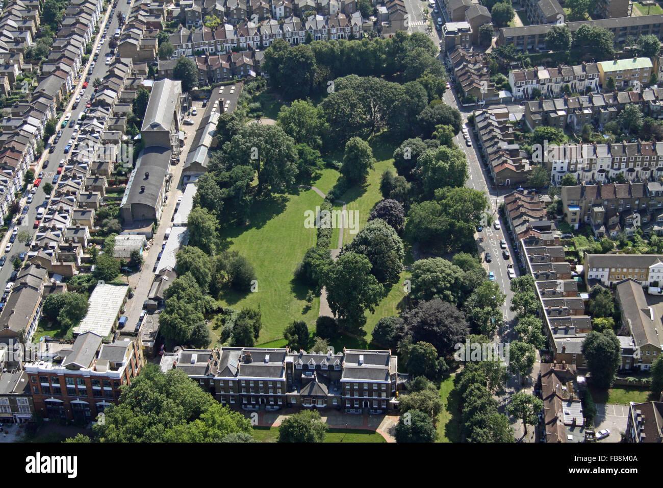 Secret Garden: Aerial View Of Lucas Gardens, Southwark, London SE5, UK