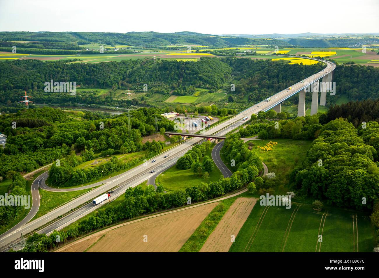 aerial view highway bridge moseltalbr cke in dieblich koblenz stock photo royalty free image. Black Bedroom Furniture Sets. Home Design Ideas