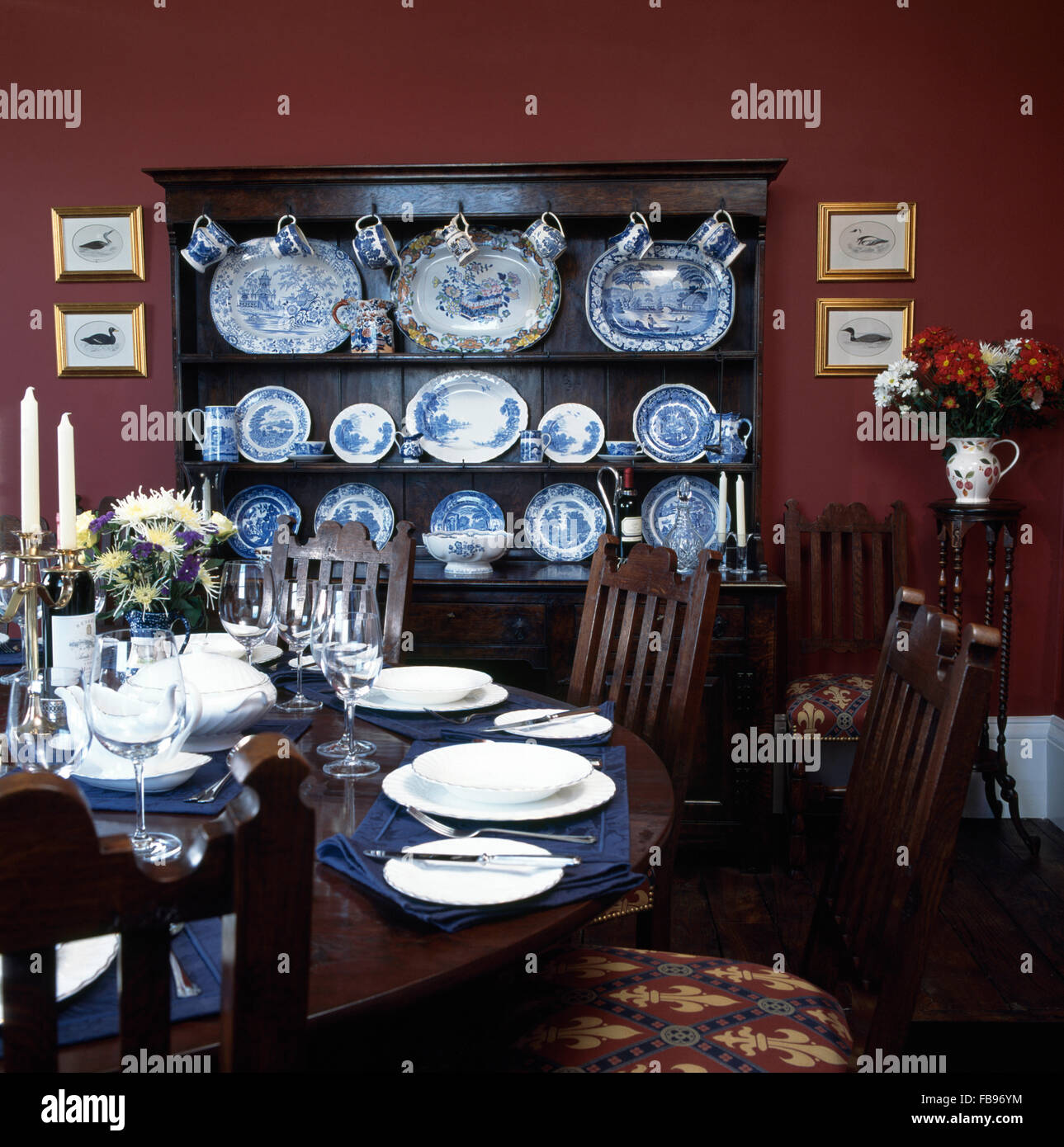 Table Set For Dinner In Dark Red Nineties Dining Room With A Stock