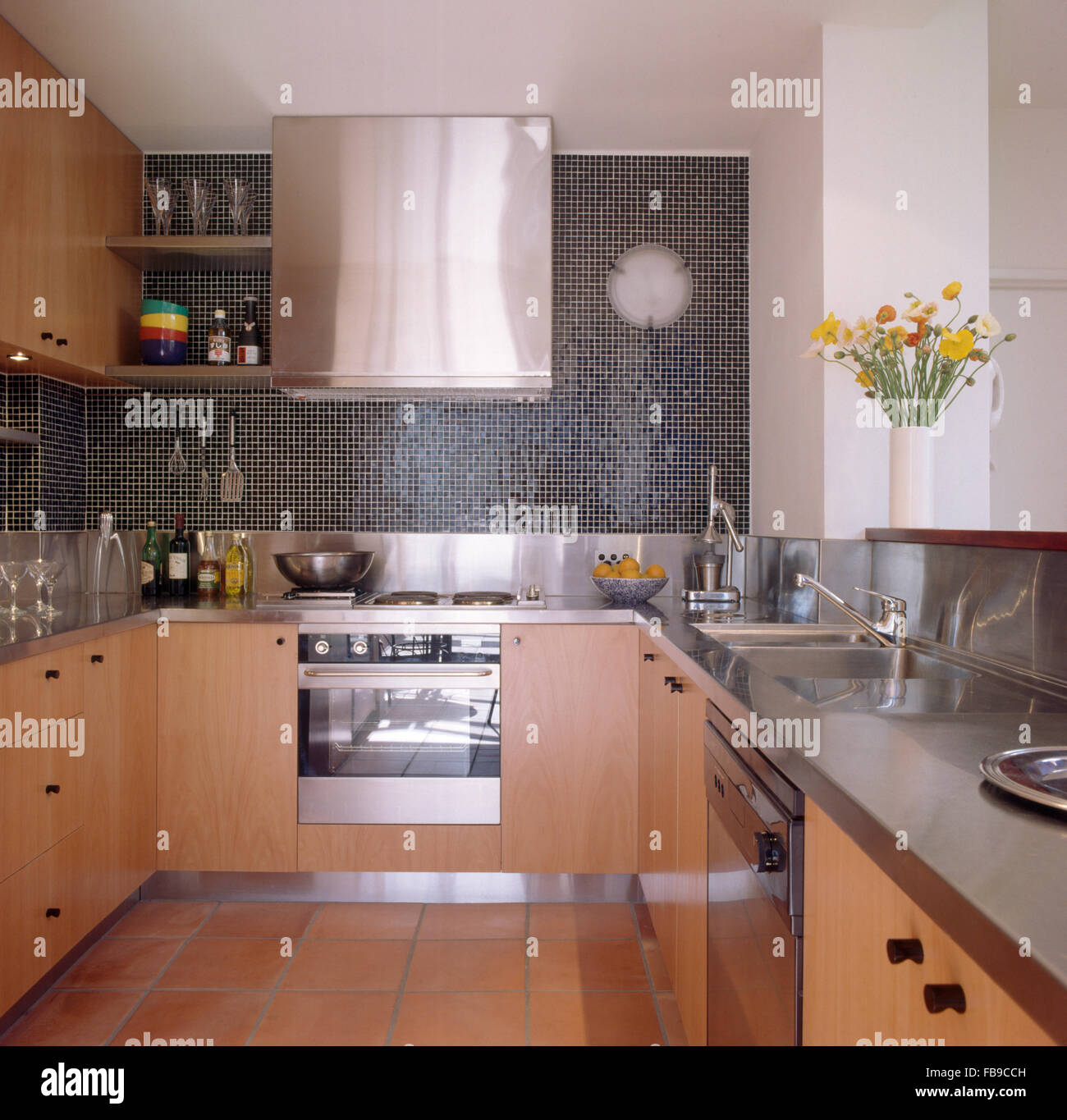 Modern Kitchen Mosaic stainless steel extractor and oven in modern kitchen with mosaic