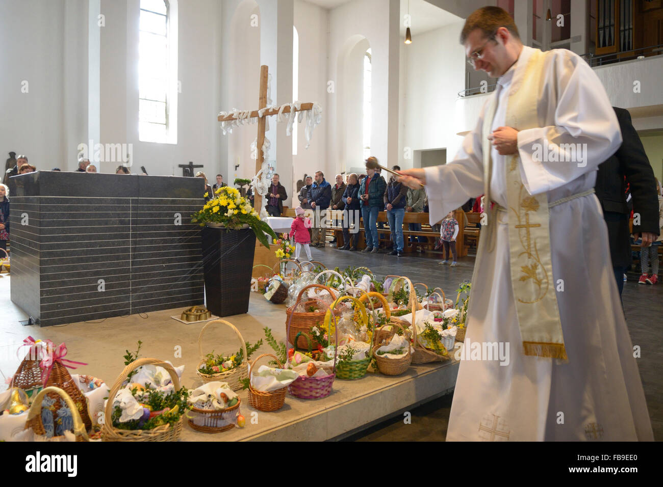 Polish catholic priest blessing easter breakfast food in for Stock cuisine saint priest