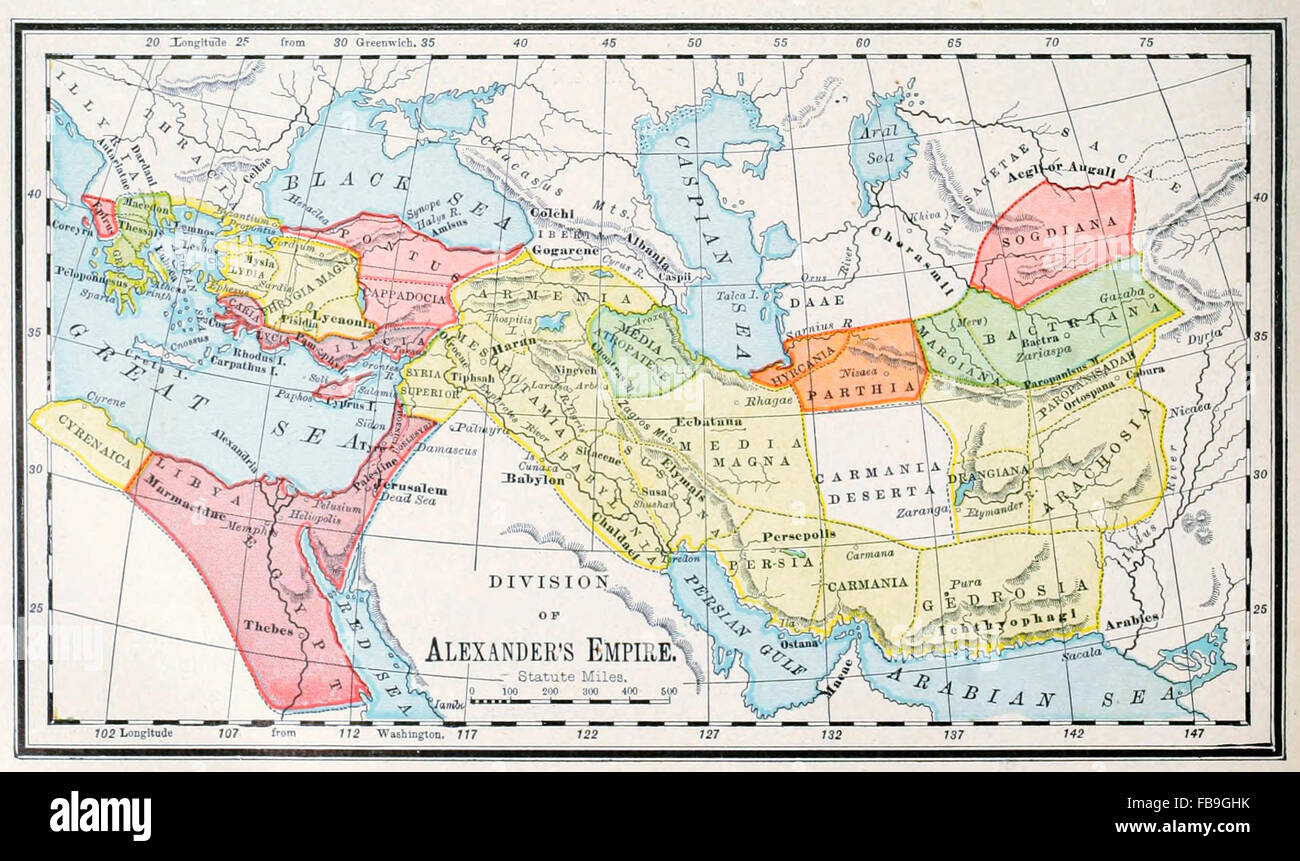 Map of the Division of Alexanders Empire  Ancient World Stock