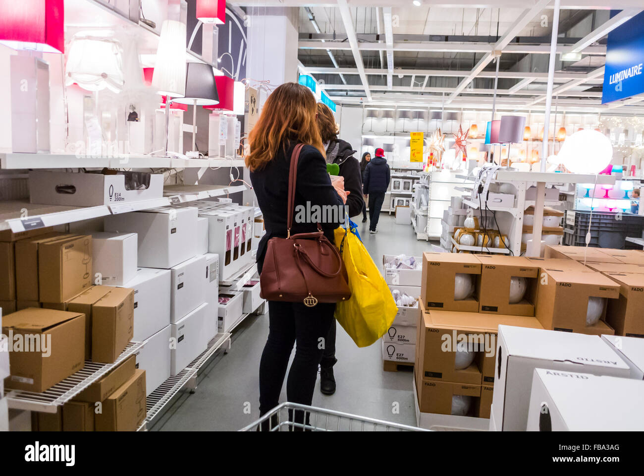 paris france women shopping in modern diy housewares store ikea stock photo 93035224 alamy. Black Bedroom Furniture Sets. Home Design Ideas