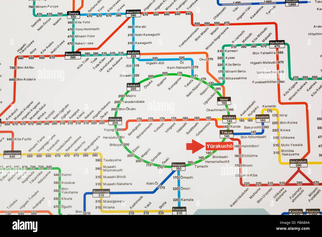 Japan Honshu Tokyo Tokyo Train System Map Stock Photo Royalty - Japan map honshu