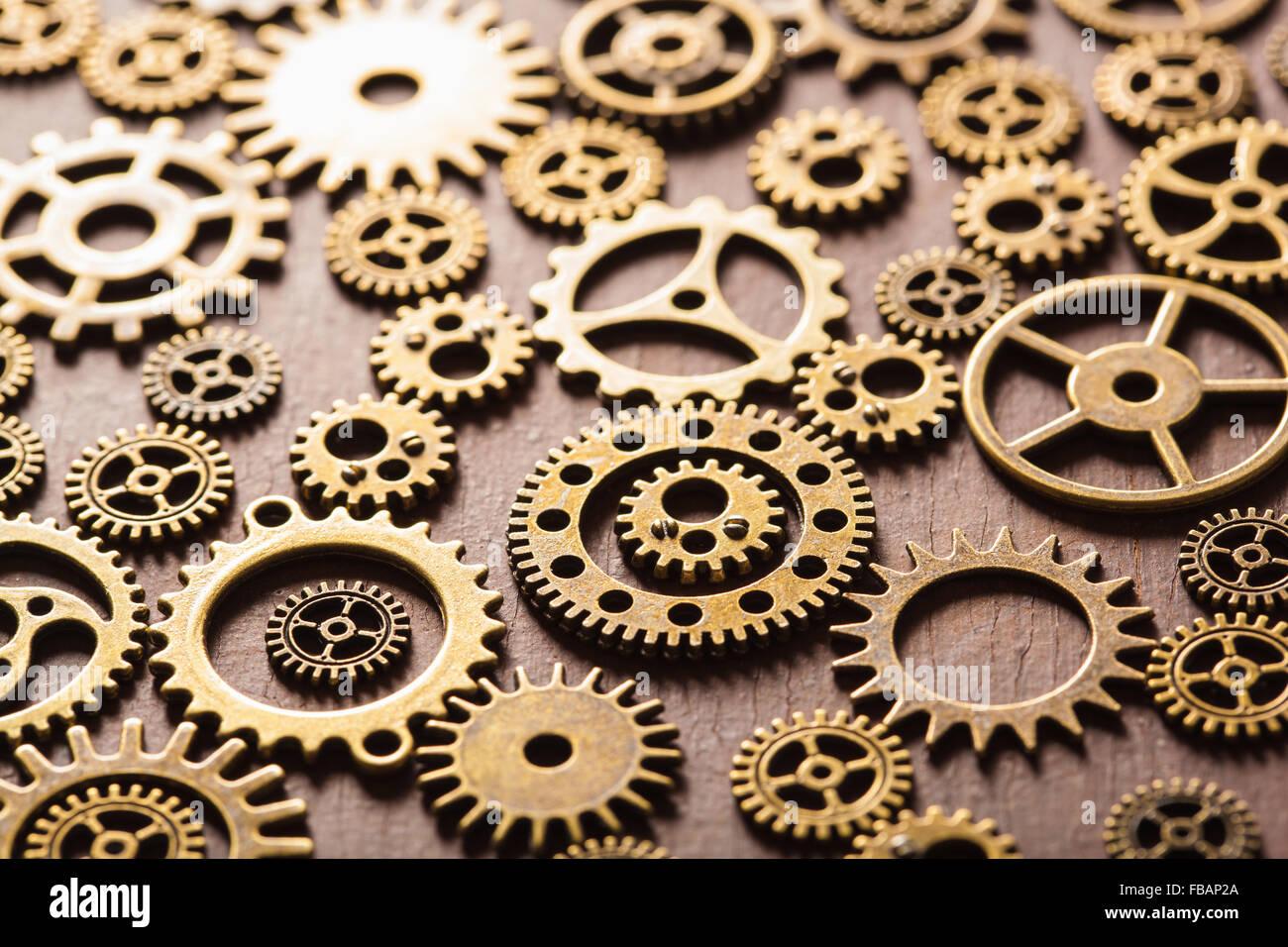 steampunk mechanical cogs gears wheels on wooden ...