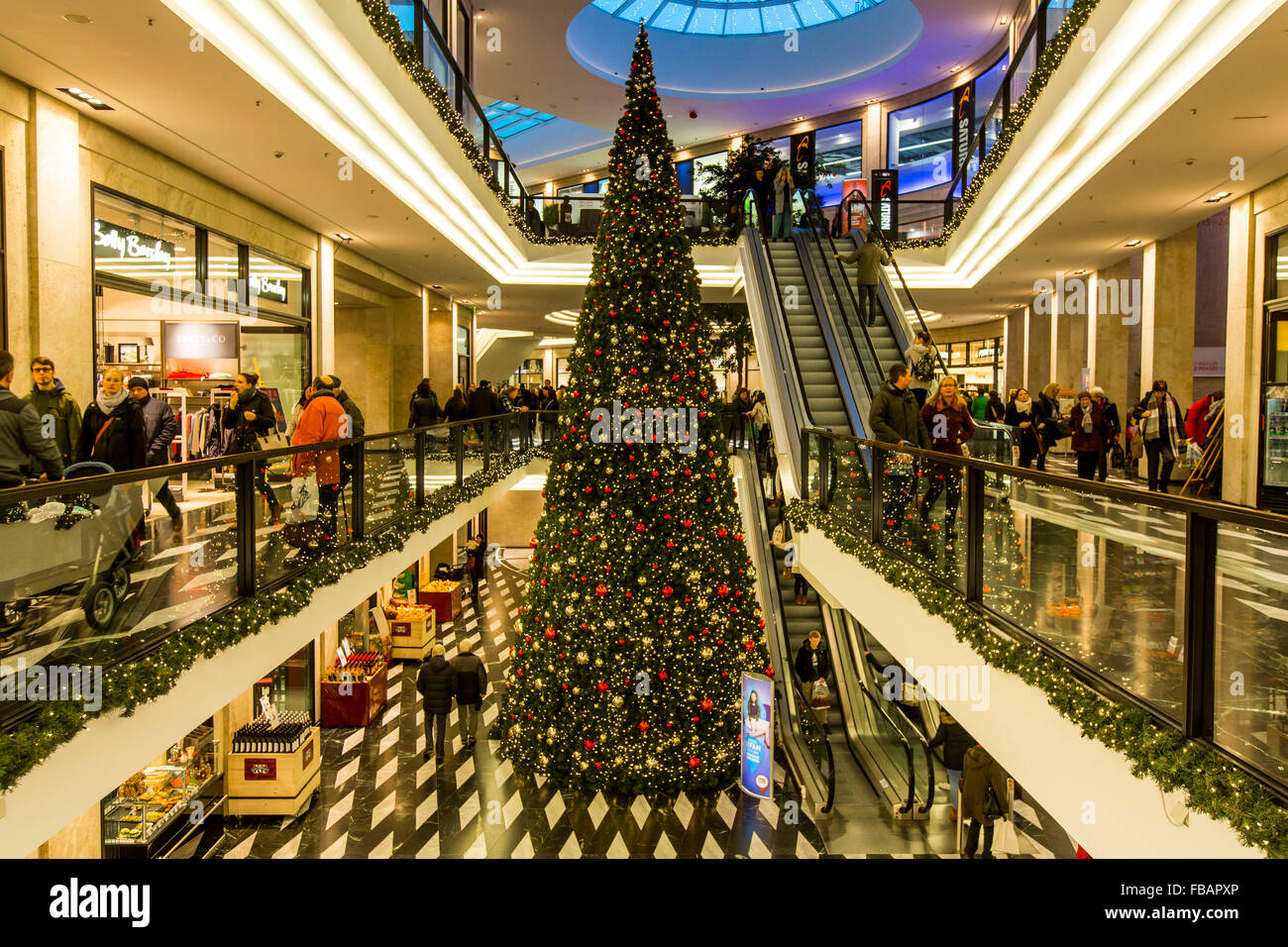 christmas decoration tree in a shopping center mnster arcades stock photo - Christmas Tree Shopping