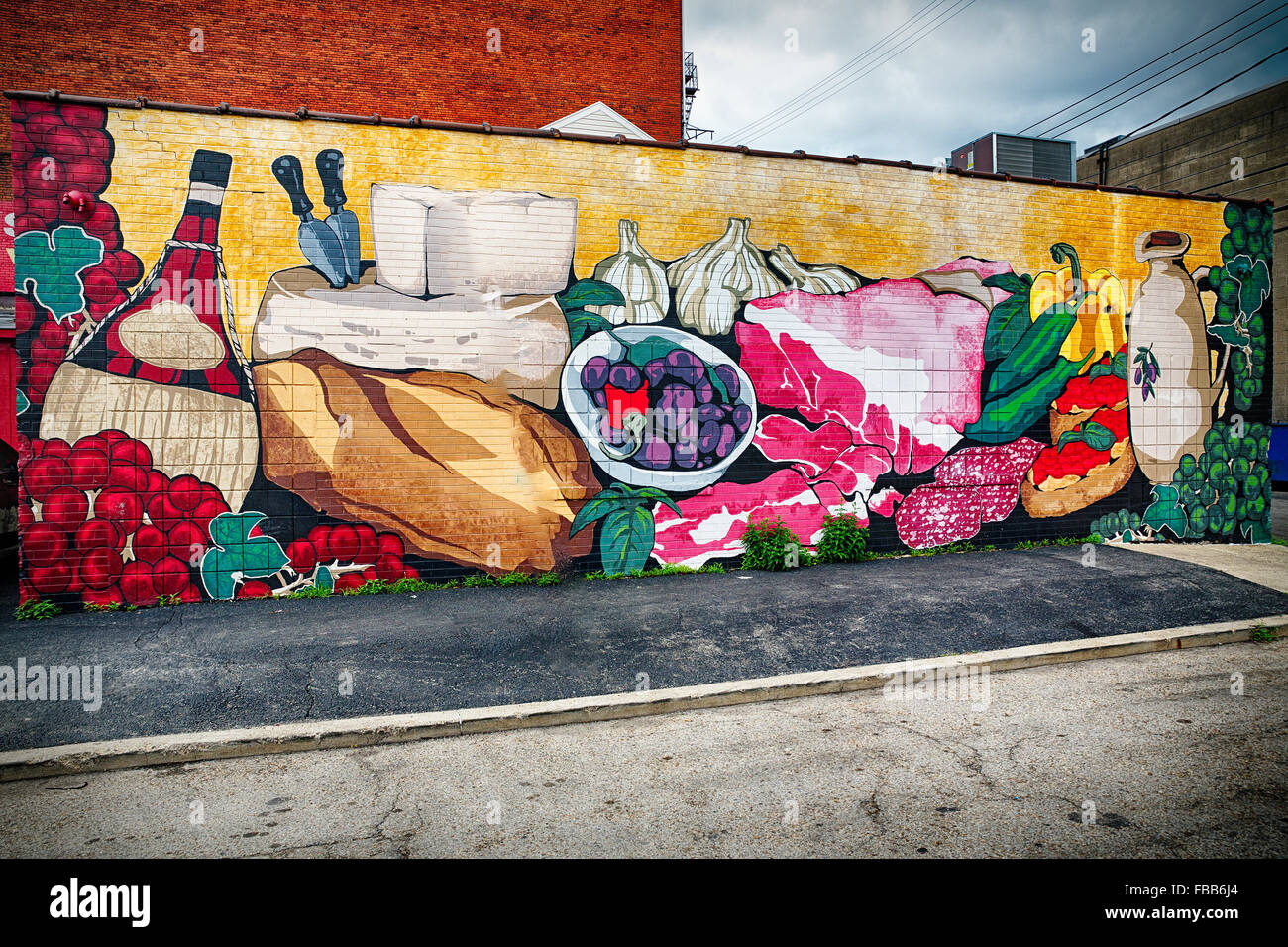 low angle view of a wall mural of market items strip district low angle view of a wall mural of market items strip district pittsburgh pennsylvania