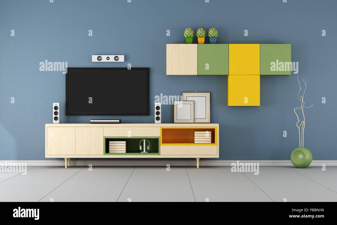 Wall Cabinet For Living Room Modern Living Room With Wall Unit Tv Set And Closed Door 3d