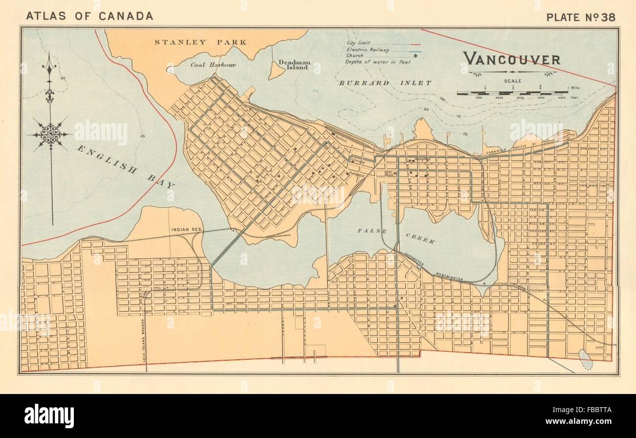 VANCOUVER Town City Plan British Columbia Canada WHITE - British columbia canada map