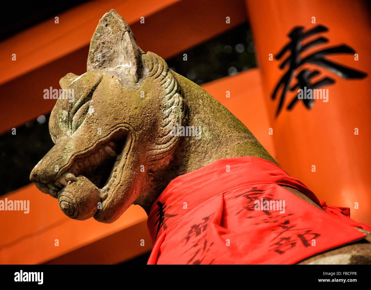Baby inari fox for sale - Fox Statue At Fushimi Inari Taisha A Large Shinto Shrine Complex Near Kyoto Japan