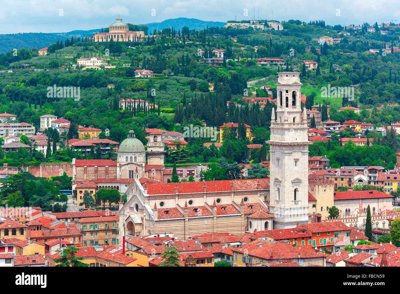 Aerial View Of Duomo And Red Roofs, Verona, Italy