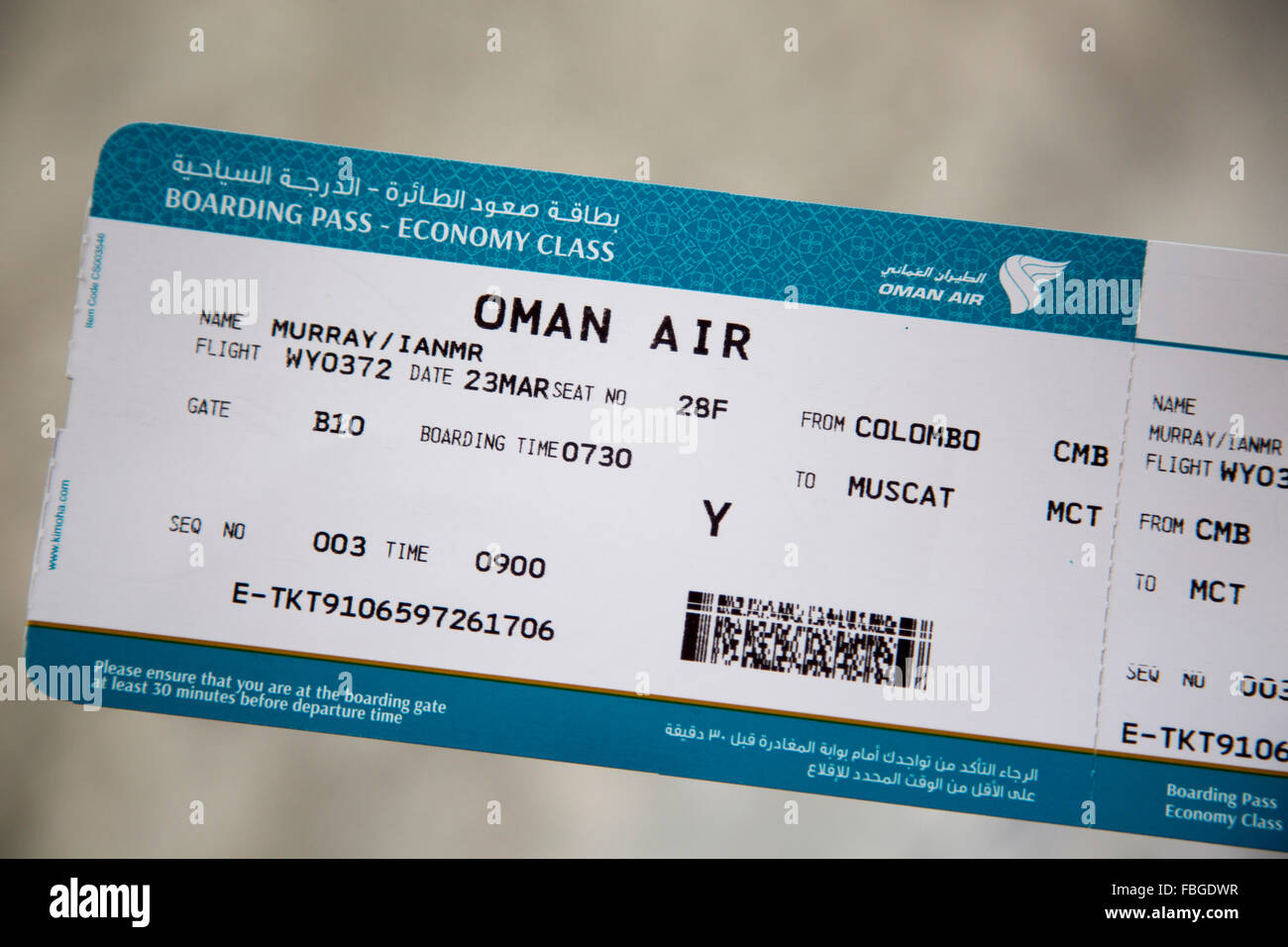 Close Up Of Oman Air Economy Boarding Pass Airplane Ticket