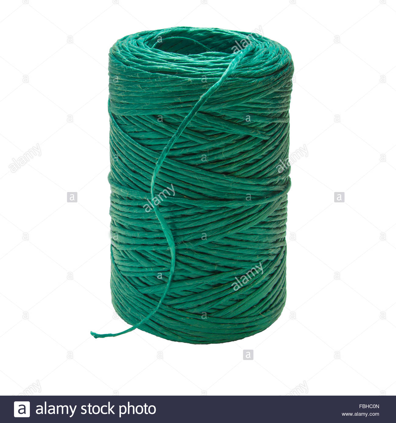 Green Polypropylene Garden String Twine isolated on white Stock