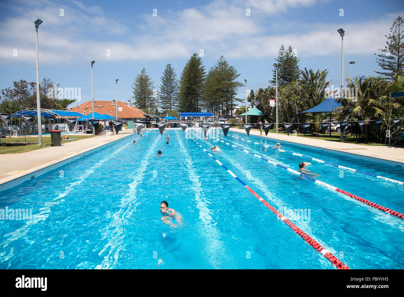Byron bay public open air olympic size swimming pool near main stock photo royalty free image for Public swimming pools around me