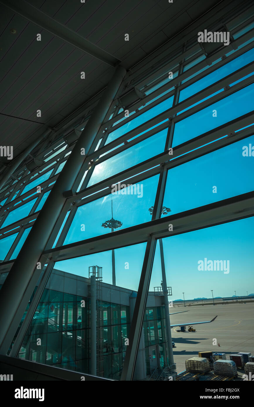 See Through Glass See Through Glass Window From Air Port Louge View2 Stock Photo