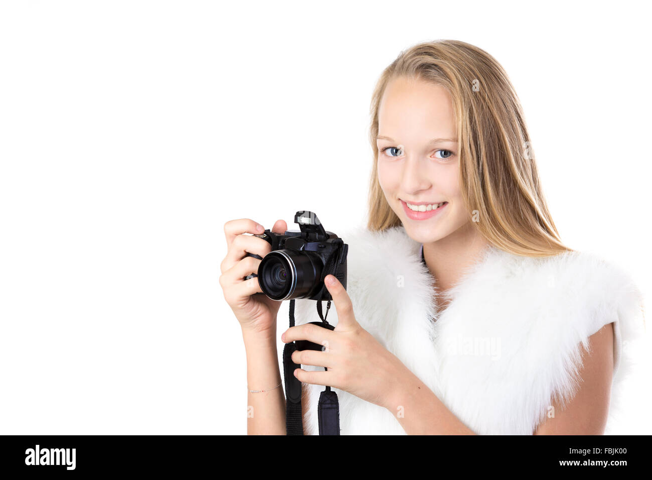 portrait of happy cute beautiful blond photographer wearing