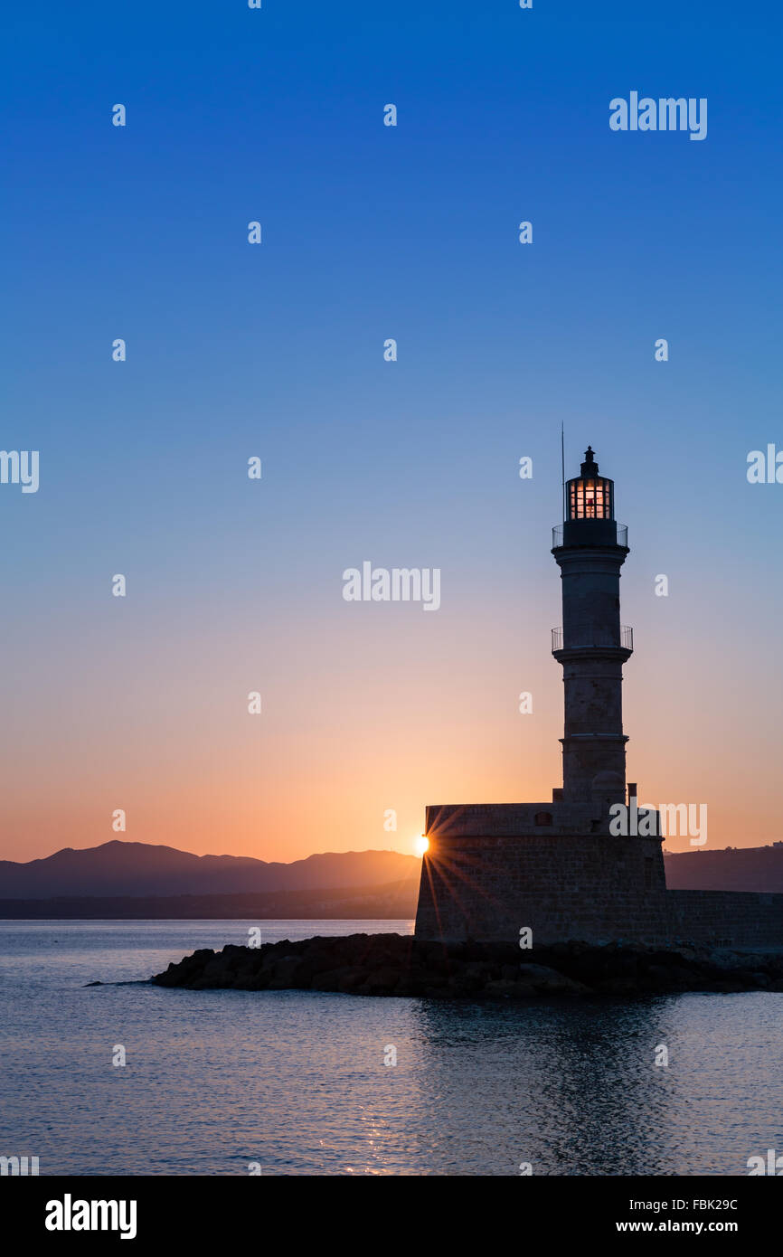 Outline athens skyline with blue buildings and copy space stock vector - Chania Lighthouse At Sunrise Chania Crete Greece Stock Image