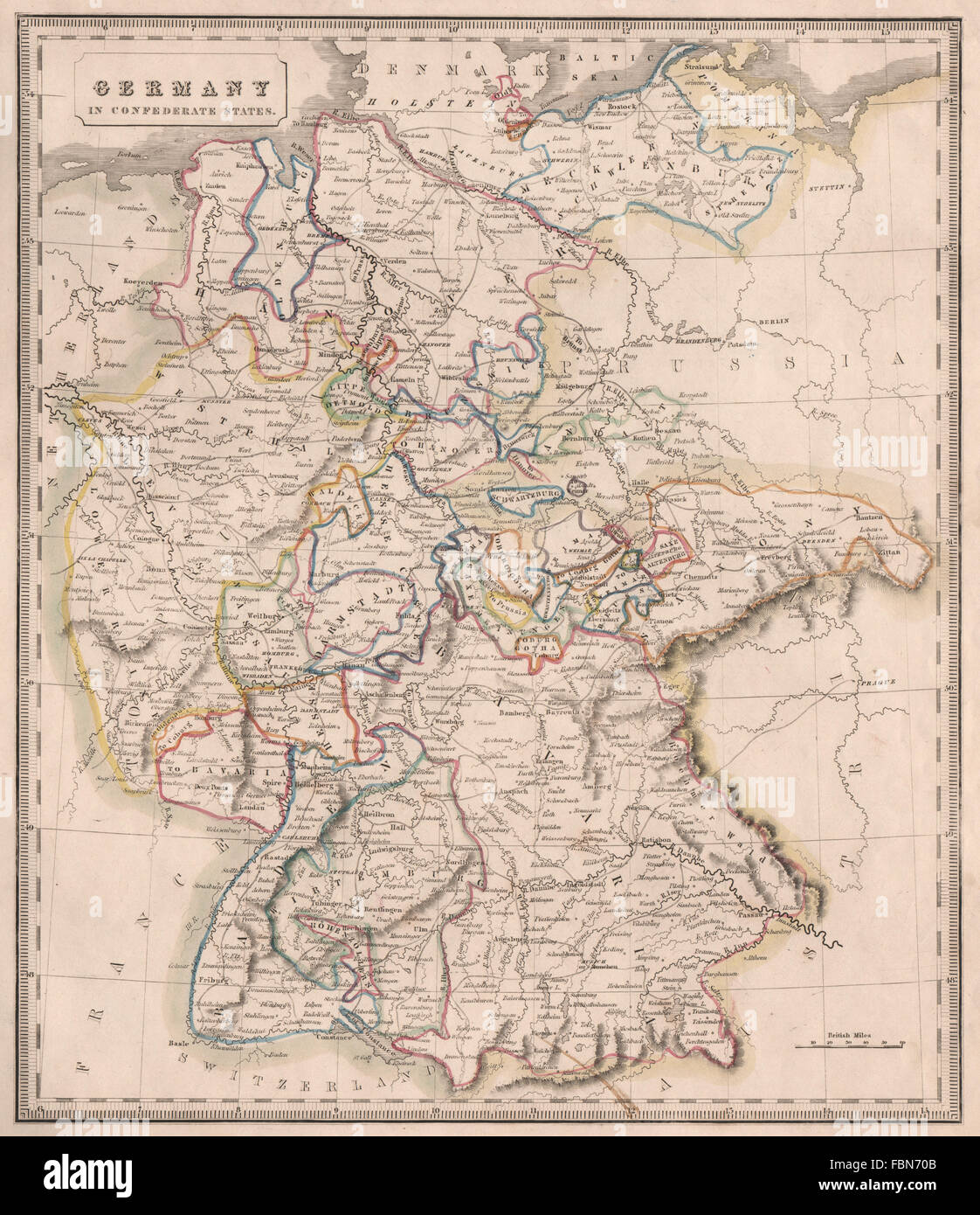 GERMANY IN CONFEDERATE STATES Rivers Bavaria Hanover C JOHNSON - Germany map in 1850