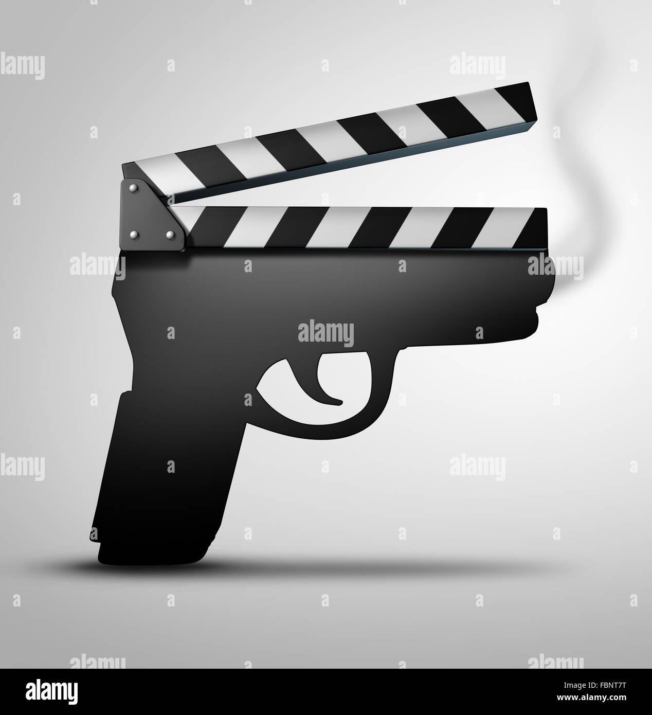 Movie violence concept or crime flick concept as a clapperboard or movie violence concept or crime flick concept as a clapperboard or movie slate board shaped as a gun as a symbol for guns in television internet or movies biocorpaavc
