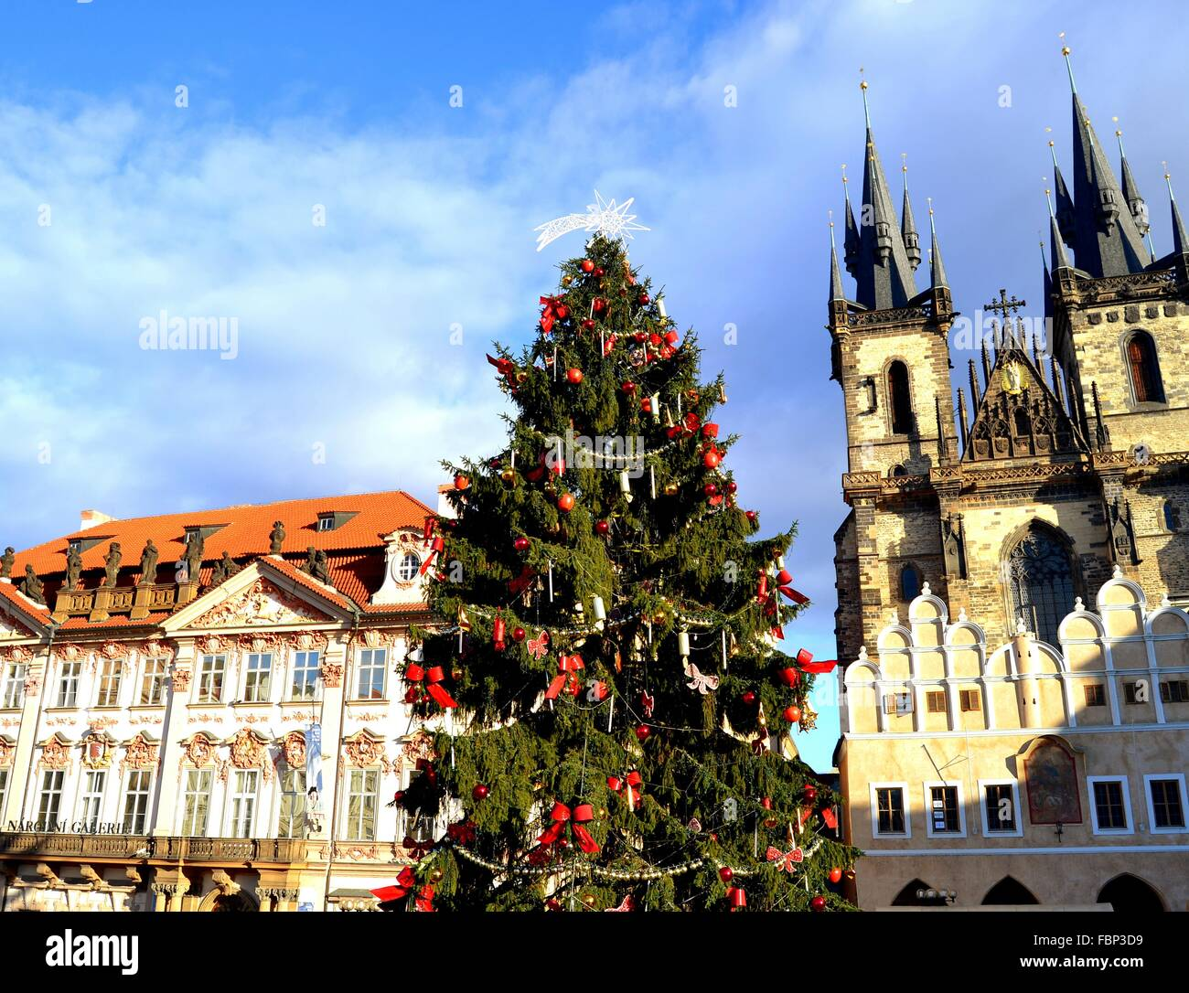 Low Angle View Of Christmas Tree And Church Of Our Lady Before Tyn ...