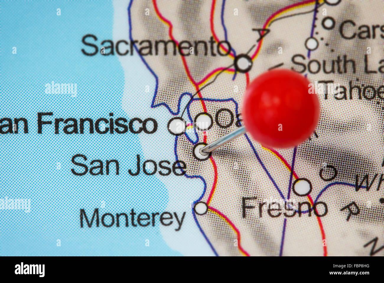 Closeup Of A Red Pushpin In A Map Of San Jose USA Stock Photo - Map of usa showing san jose