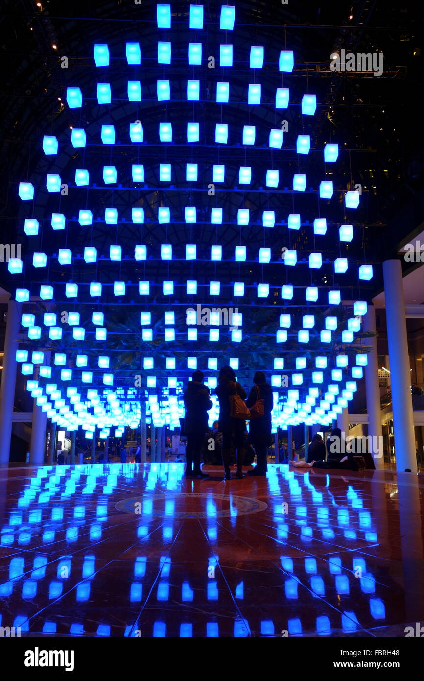 Luminaries - a spectacular lighting display at the Winter Garden,  Brookfield Place, New York City, New York