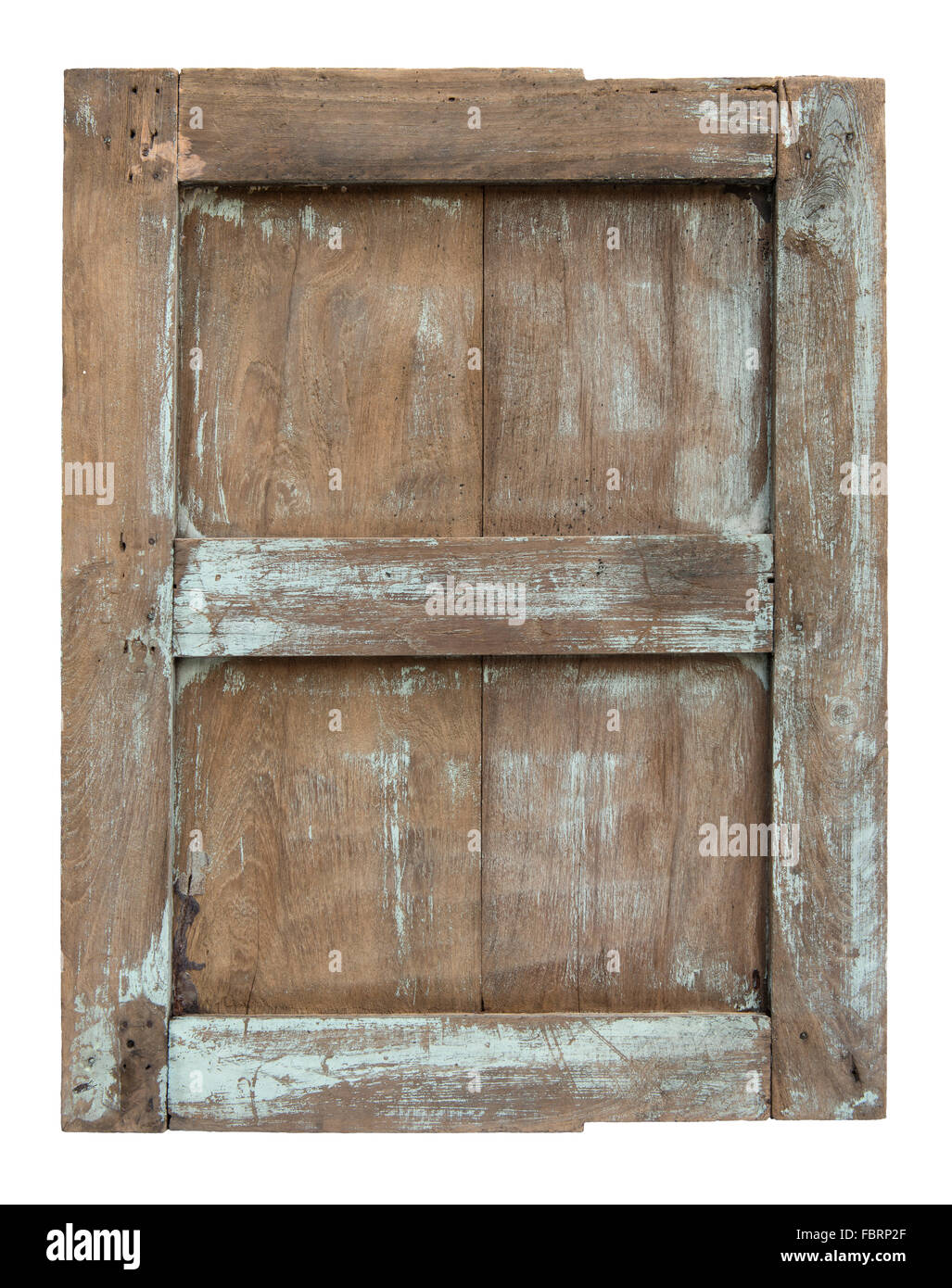 Old wooden window frame isolated on white background Stock