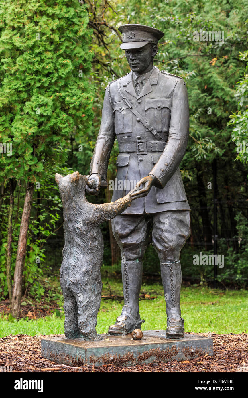 Winnie The Bear Statue With Lieutenant Harry Colebourn Assiniboine Zoo In North London