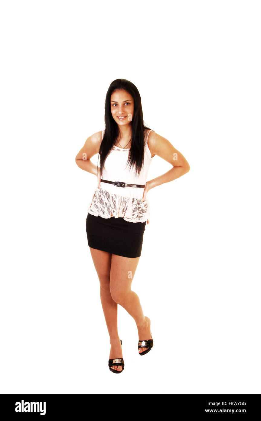 Teen girl in skirt and blouse Stock Photo, Royalty Free Image ...