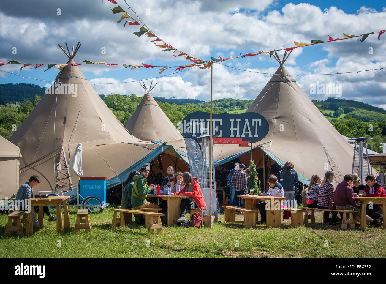 Food tents during Literary Festival in Hay-on-Wye Wales & Food tents during Literary Festival in Hay-on-Wye Wales Stock ...