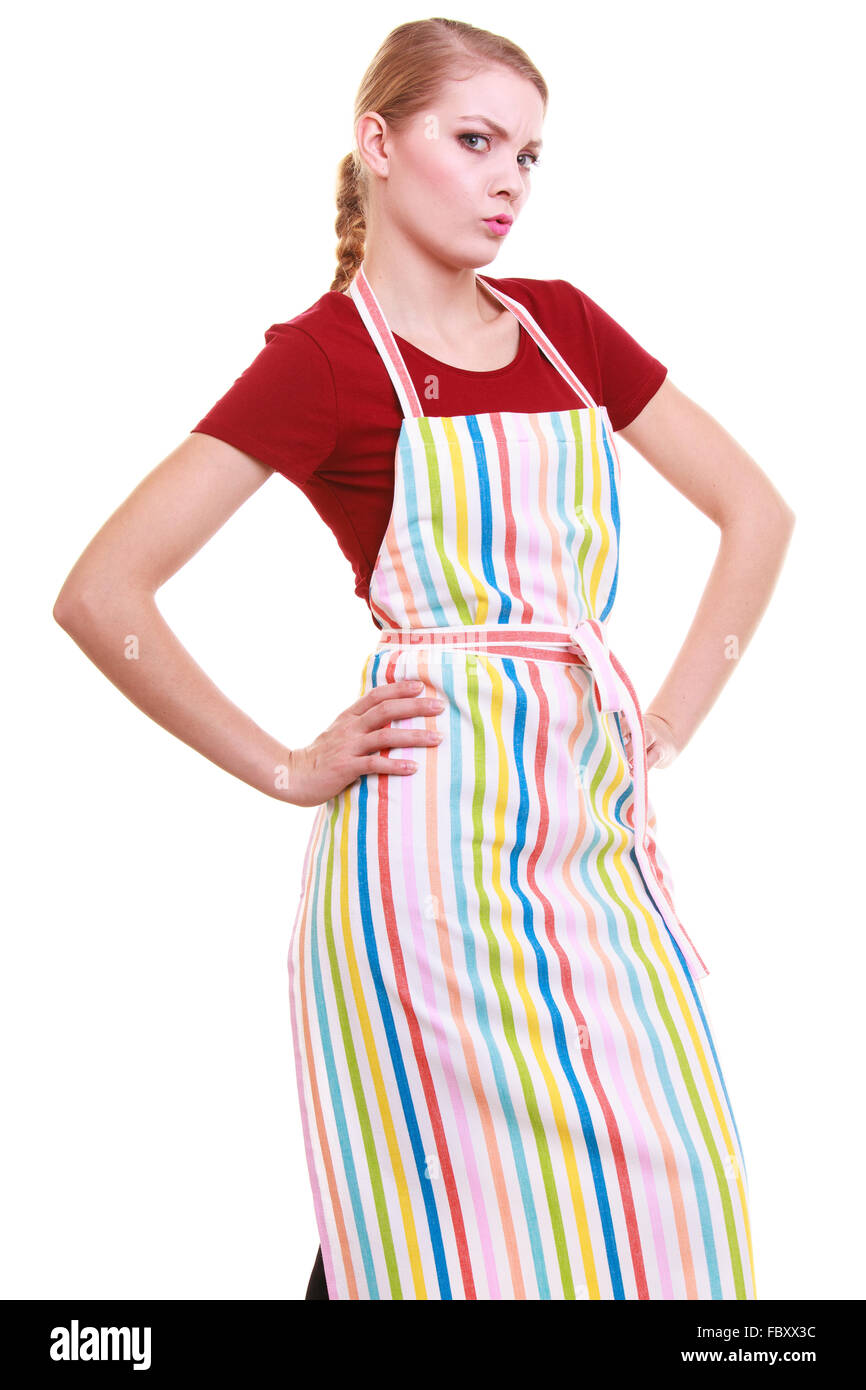 young housewife wearing kitchen apron or small business owner stock photo young housewife wearing kitchen apron or small business owner entrepreneur barista shop assistant studio picture isolated on wh