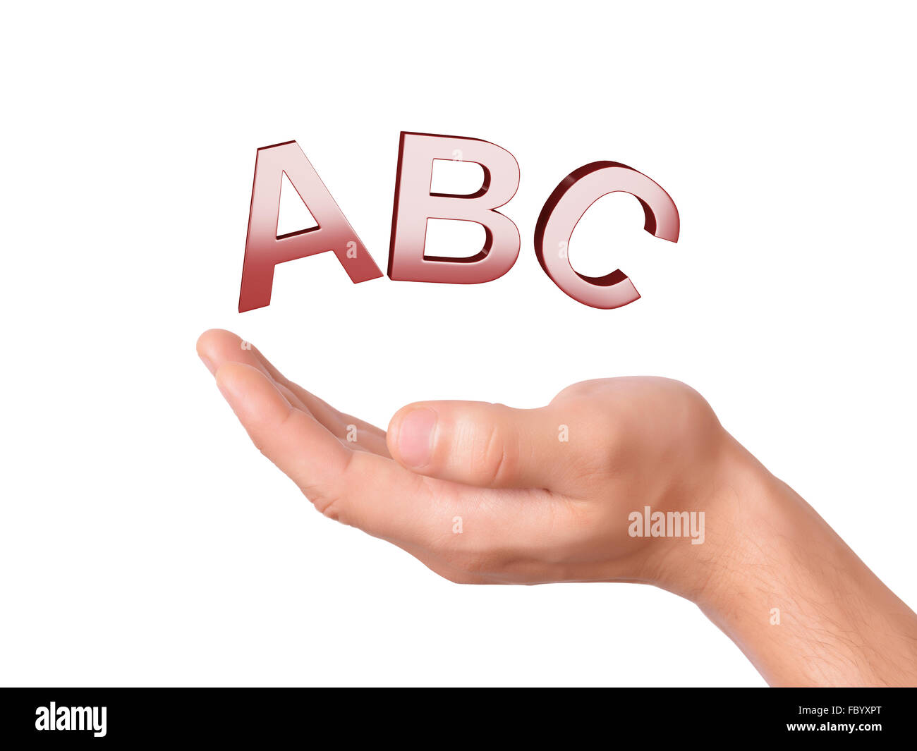 Hand Holding Letters Abc Symbol On White Backgroun Stock Photo