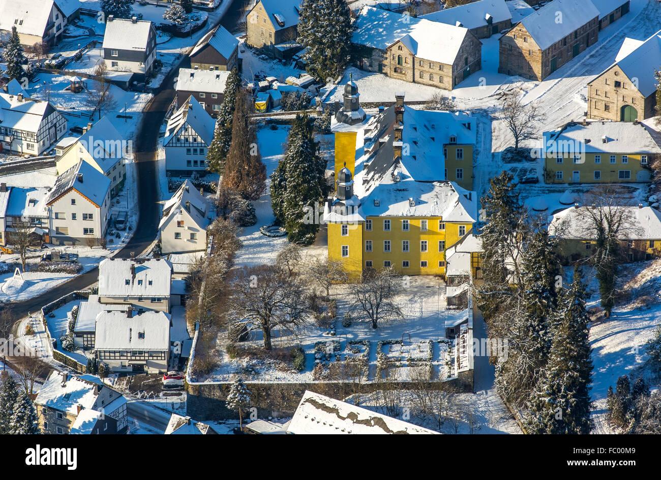 aerial view, antfeld with lock antfeld, yellow castle, winter