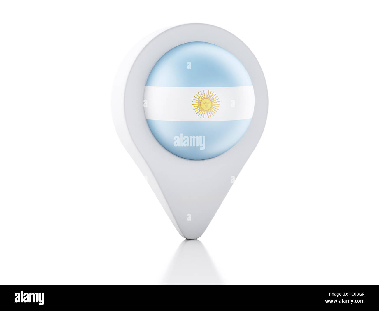 D Map Pointer Argentina Flag Icon On White Backgr Stock Photo - Argentina 3d map