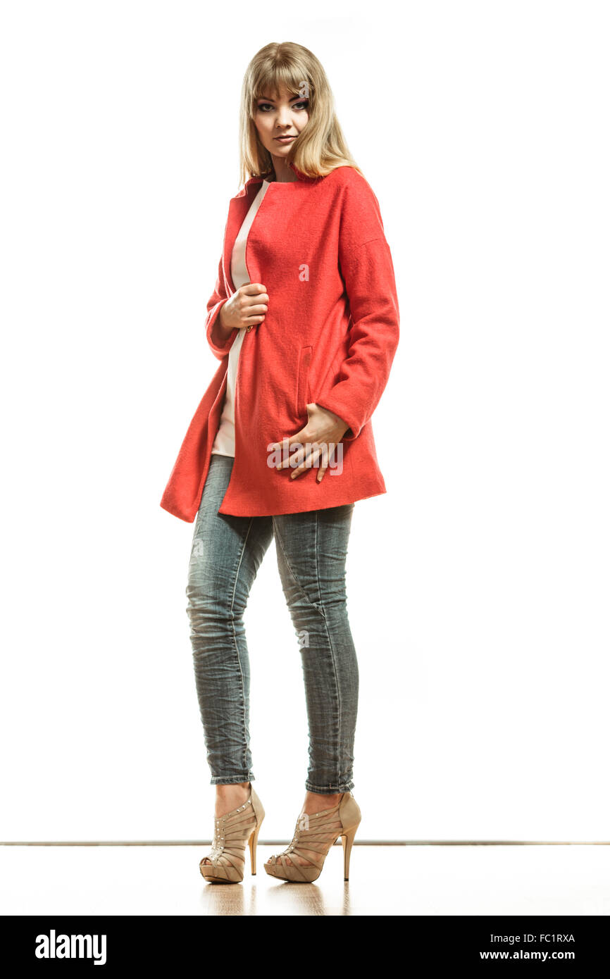 Full length fashion woman in red coat Stock Photo, Royalty Free ...