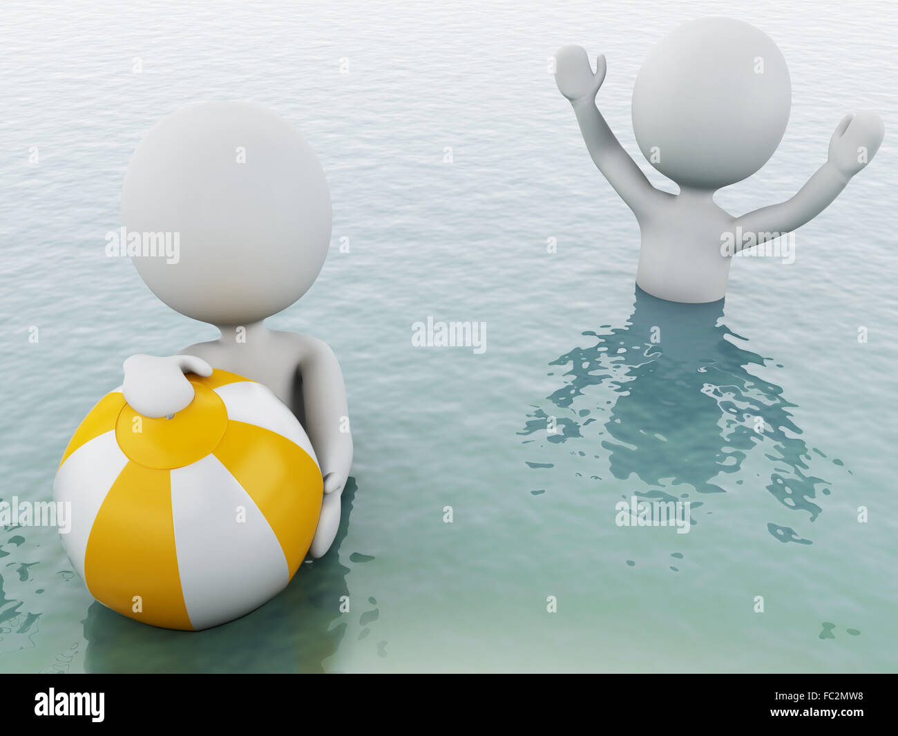 Beach Ball In Water 3d white people with beach ball in water stock photo, royalty free