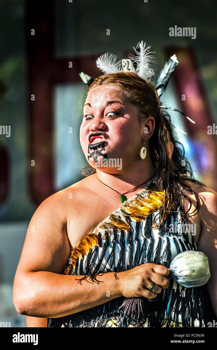 Maori Woman Performing The Haka War Dance At Melbourne