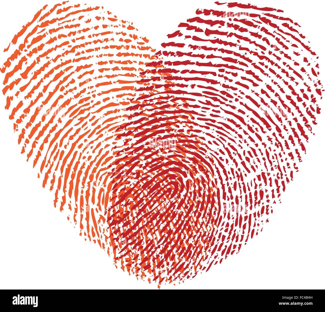 red fingerprint heart, vector design element for wedding ...