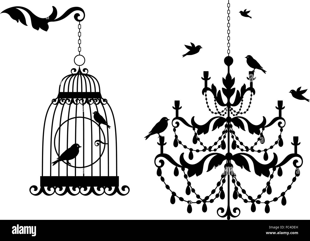 Vintage chandelier and birdcage with flying birds vector stock vintage chandelier and birdcage with flying birds vector illustration arubaitofo Gallery