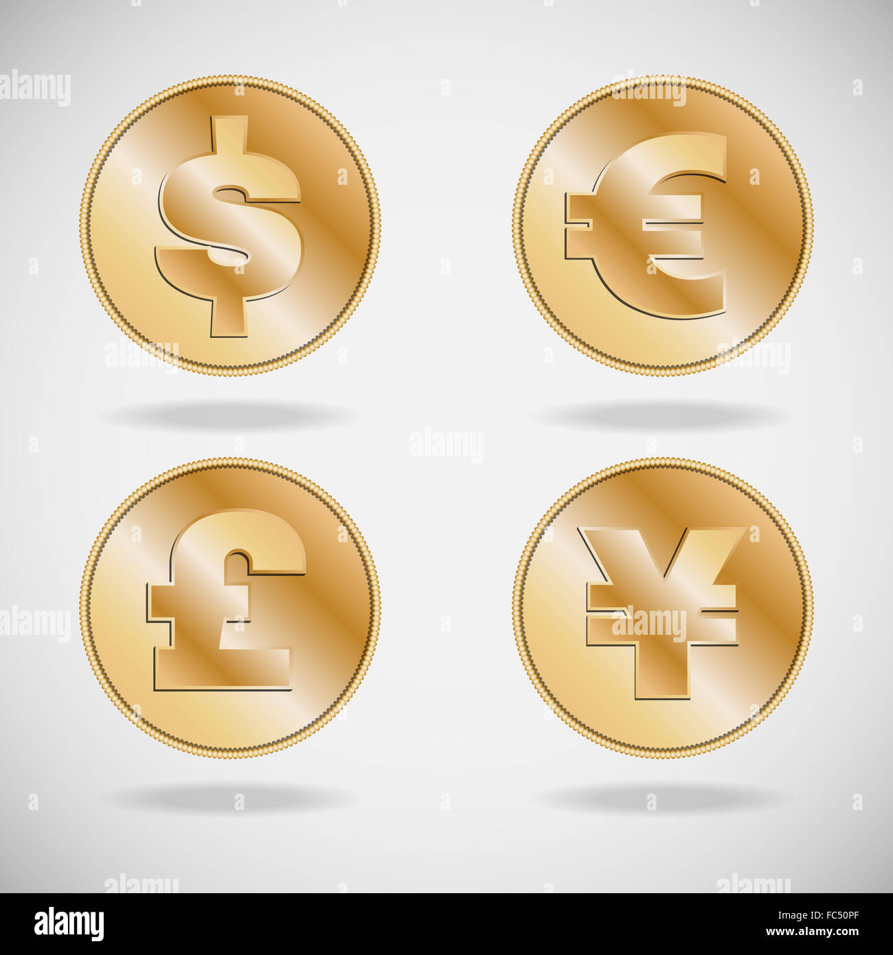 Symbols of various currencies dollar euro pound and yen or yuan symbols of various currencies dollar euro pound and yen or yuan on on gold coins biocorpaavc Images