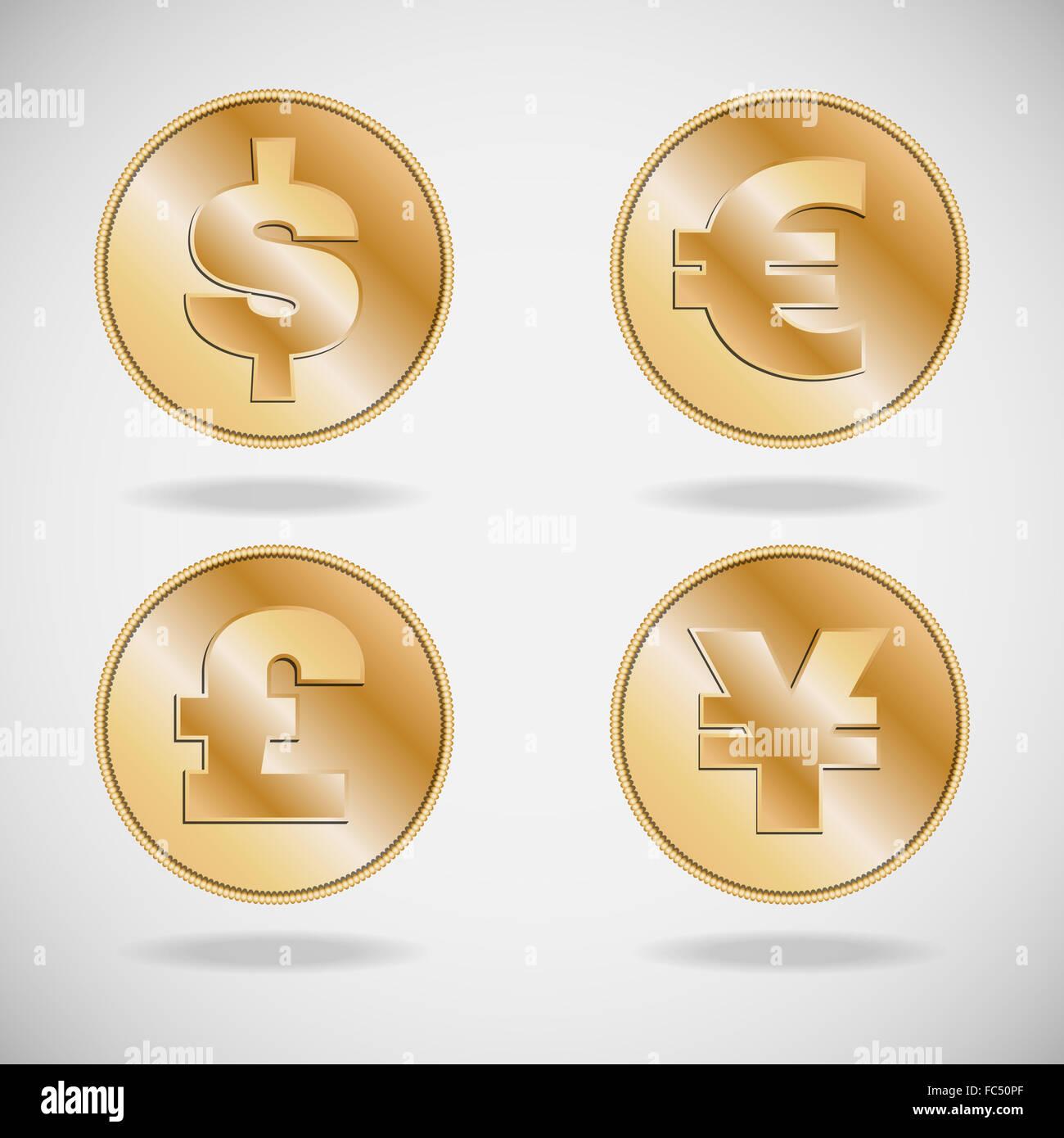 Symbols of various currencies dollar euro pound and yen or yuan symbols of various currencies dollar euro pound and yen or yuan on on gold coins buycottarizona Choice Image