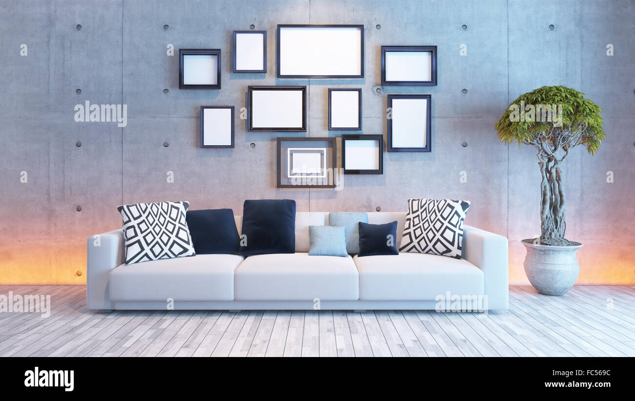 Living room or saloon interior design with under light wall and living room or saloon interior design with under light wall and picture frames 3d rendering jeuxipadfo Gallery