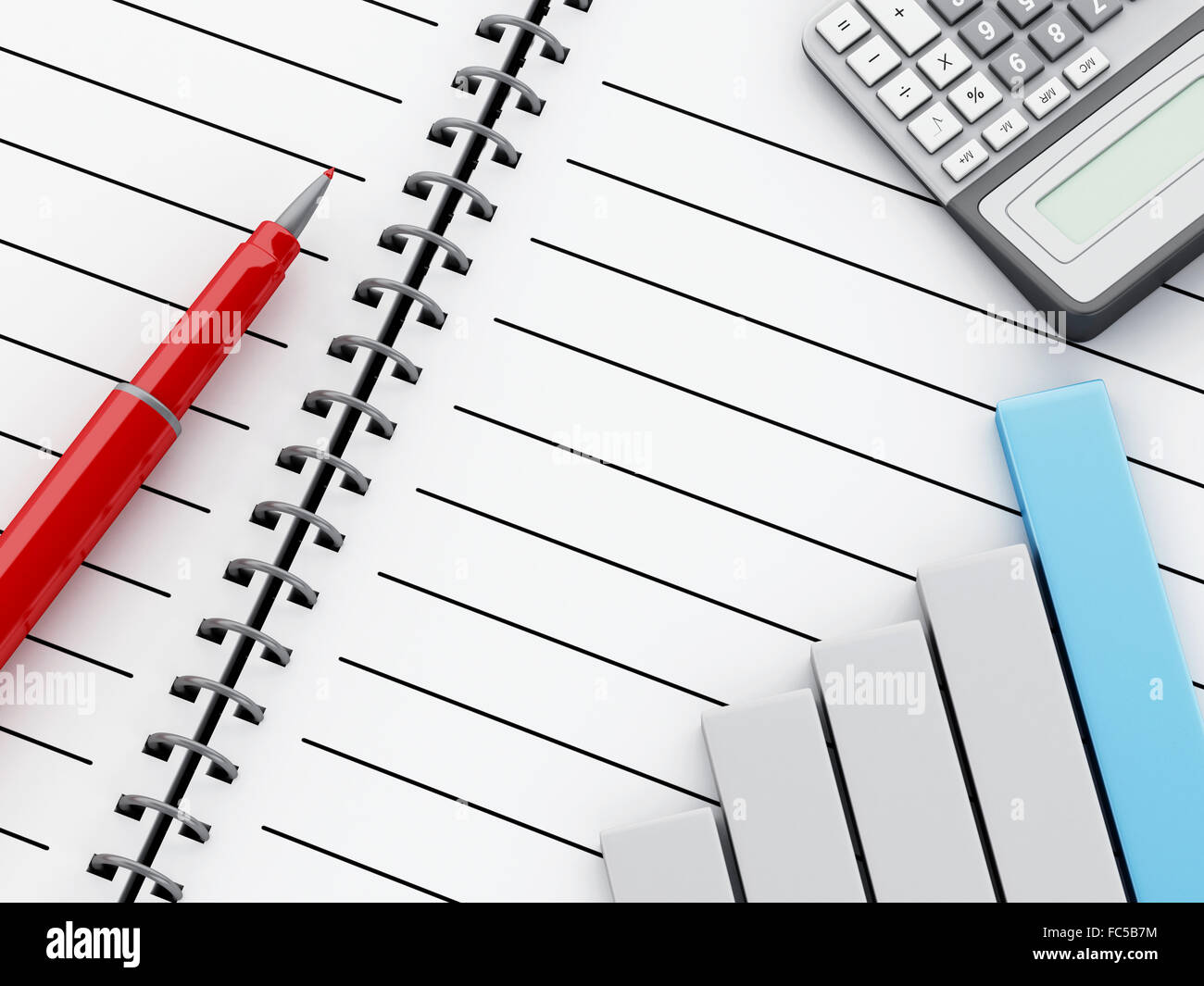 3d notepad with bar graph and office calculator stock photo royalty 3d notepad with bar graph and office calculator ccuart Gallery