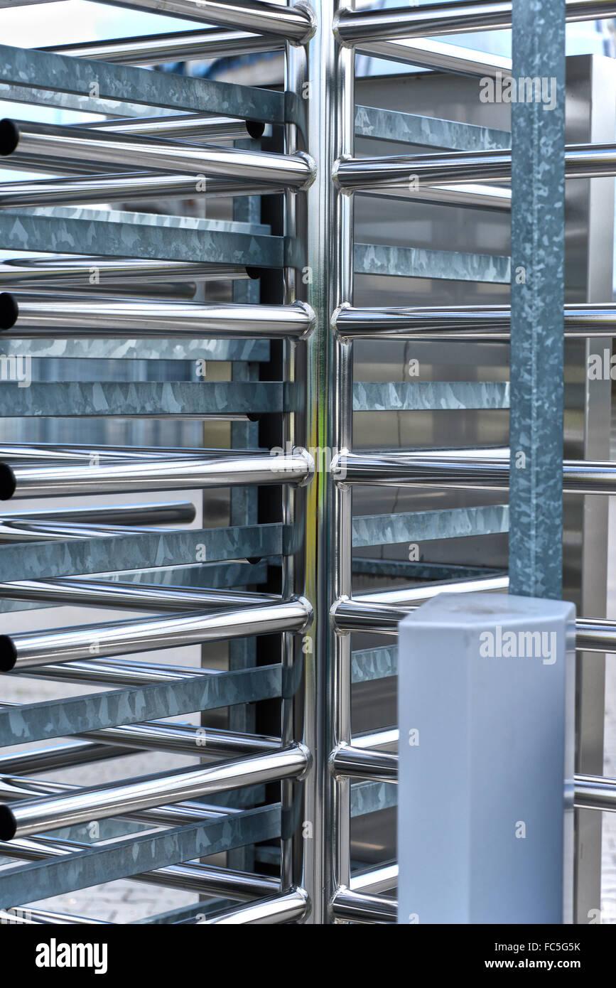 Full-height turnstile guarded stadium entrance. Revolving door & Full-height turnstile guarded stadium entrance. Revolving door Stock ...