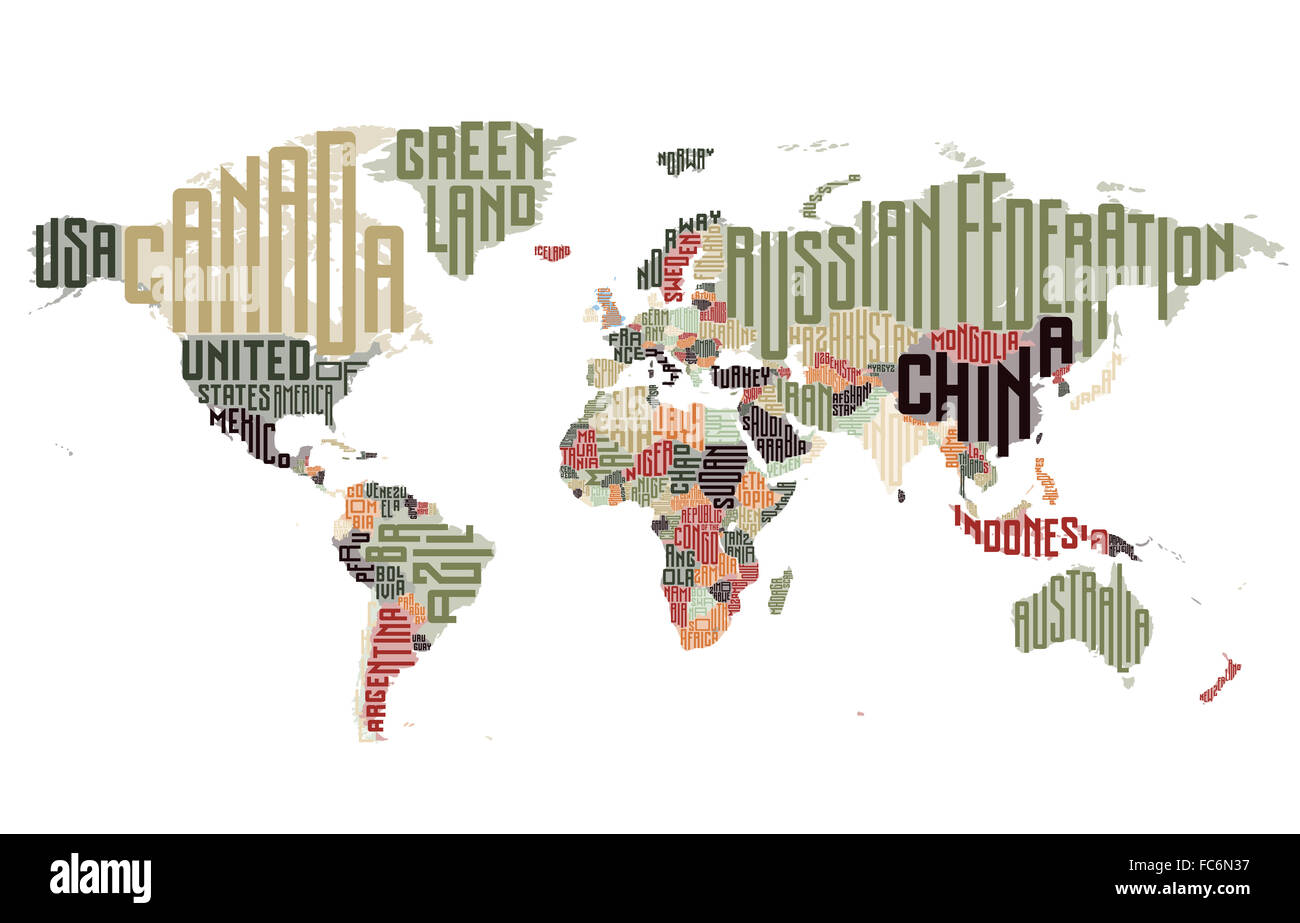 World Map Made Of Typographic Country Names Stock Photo Royalty - World map with country names